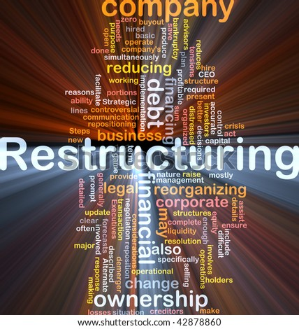 Software package box Word cloud concept illustration of company restructuring Foto d'archivio ©