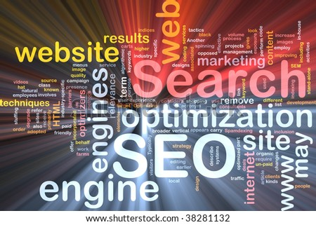 Software package box Word cloud concept illustration of SEO Search Engine Optimization