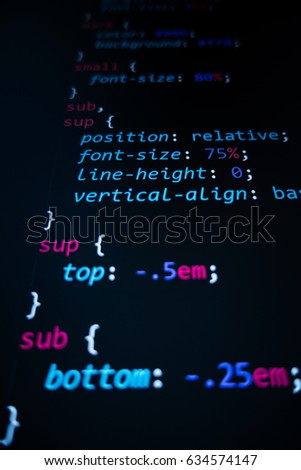 Software source code. Programming code. Programming code on computer screen. Developer working on program codes in office. Source code photo. Technology background. #634574147