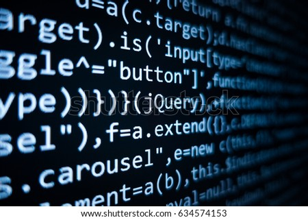 Software source code. Programming code. Programming code on computer screen. Developer working on program codes in office. Source code photo. Technology background. #634574153