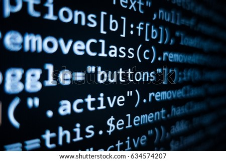 Software source code. Programming code. Programming code on computer screen. Developer working on program codes in office. Source code photo. Technology background. #634574207