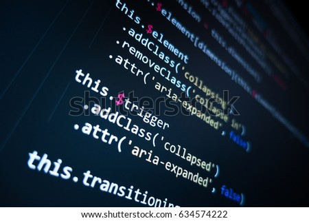 Software source code. Programming code. Programming code on computer screen. Developer working on program codes in office. Source code photo. Technology background. #634574222