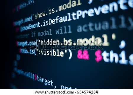 Software source code. Programming code. Programming code on computer screen. Developer working on program codes in office. Source code photo. Technology background. #634574234