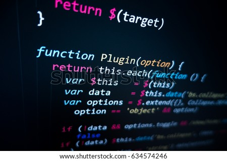 Software source code. Programming code. Programming code on computer screen. Developer working on program codes in office. Source code photo. Technology background. #634574246
