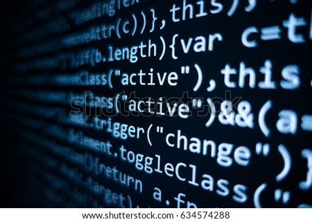 Software source code. Programming code. Programming code on computer screen. Developer working on program codes in office. Source code photo. Technology background. #634574288