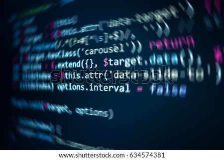 Software source code. Programming code. Programming code on computer screen. Developer working on program codes in office. Source code photo. Technology background. #634574381