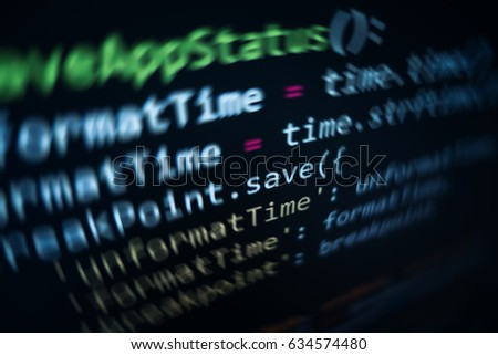Software source code. Programming code. Programming code on computer screen. Developer working on program codes in office. Source code photo. Technology background. #634574480