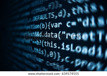 Software source code. Programming code. Programming code on computer screen. Developer working on program codes in office. Source code photo. Technology background. #634574555