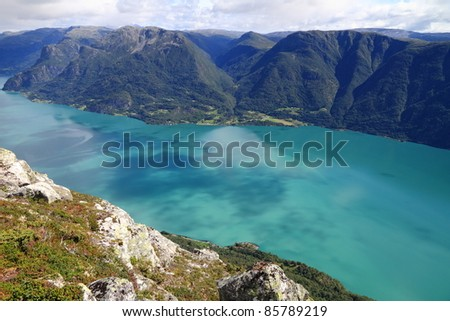 sognefjord with incredible colors in norway from molden mountain