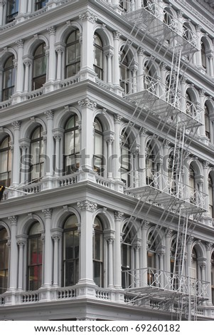 Soho Manhattan New York  Architecture Cast Iron Element Building - stock photo