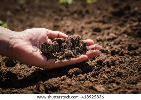 Soil, cultivated dirt, earth, ground, brown land background. Organic gardening, agriculture. Nature closeup. Environmental texture, pattern. Mud on field. #418925836