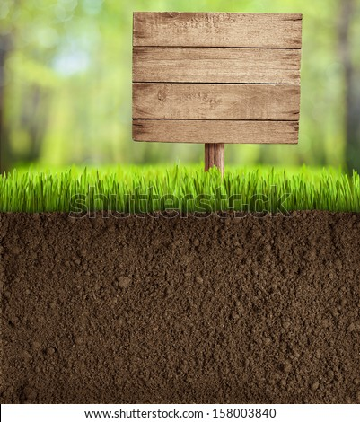 soil cut in garden with wooden...