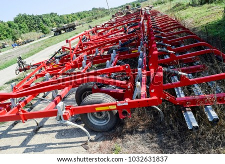 Soil disintegrator, deep loosener on the trailer. Trailer Hitch for tractors and combines. Trailers for agricultural machinery. #1032631837