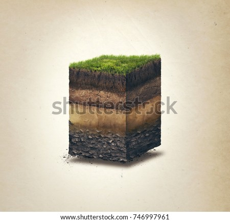 Soil layers. Cross section soil layers. 3D illustration isolated on light background Stock photo ©