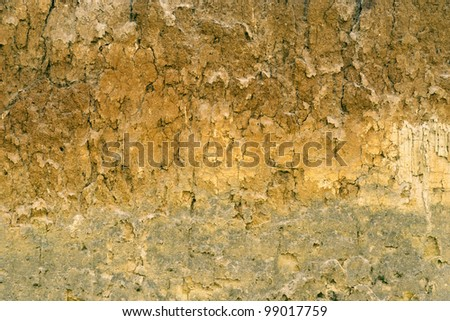 Soil layers texture on landslide - stock photo