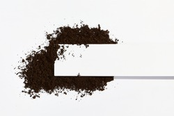 Soil on white background. Ground minimal flat lay with copy space. Agriculture, organic, garden concept.