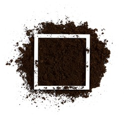 Soil on white background. Ground minimal flat lay with white frame. Agriculture, organic, garden concept.