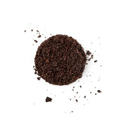 Soil with mineral fertilizers for planting and flower pot isolated on white background. Ground pattern and garden dirt earth creative composition. Top view, flat lay. Environment conservation concept
