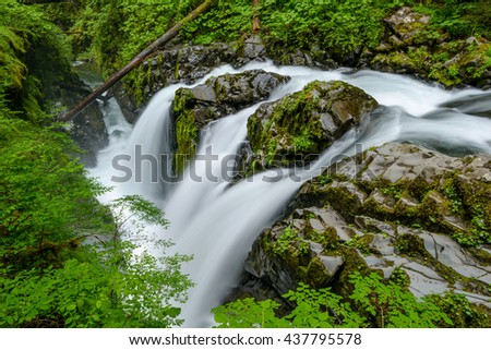 Sol Duc Falls - A top view of Sol Duc Falls. Olympic National Park, Washington, USA.