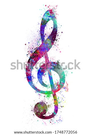 Sol key watercolor silhouette from colorful splashes Foto stock ©