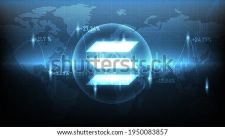 Solana (SOL) Symbol with blue world map and stock charts technology background. Widescreen Abstract technology and cryptocurrency background. Foto stock ©