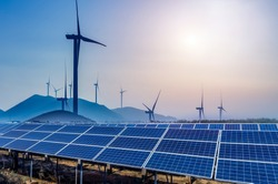 Solar and wind power, clean energy
