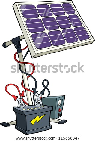 Solar battery on a white background raster version