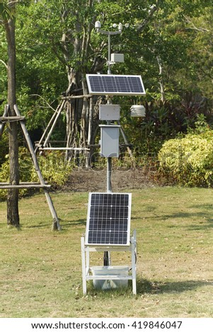 Solar cell panel in the park. #419846047