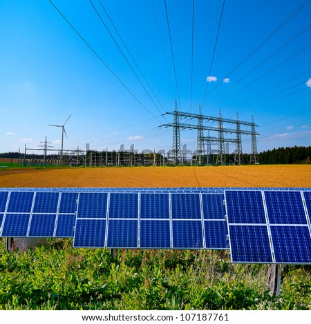 Solar cell power station, electric substation and power lines