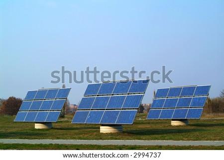 Solar cells against blue sky