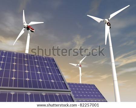 Solar cells and wind turbines, illustrating concepts such as green power, greentech, environmental protection, sustainable growth and technologies in general