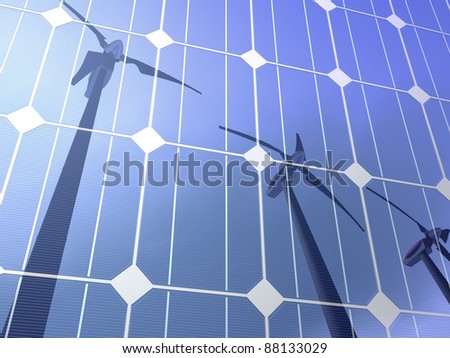 Solar cells reflecting the sky and some wind turbines, illustrating concepts such as green power, greentech, environmental protection, sustainable growth and technologies in general