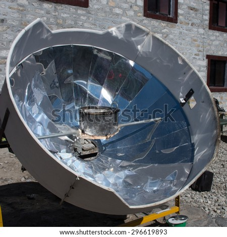 Solar cooker in the Himalaya mountains. Nepal #296619893