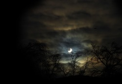Solar eclipse at winter looks like scaring night scene from the nightmare