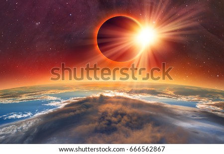 "Solar Eclipse ""Elements of this image furnished by NASA "" #666562867"
