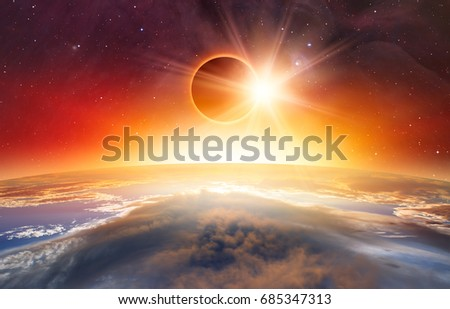 "Solar Eclipse ""Elements of this image furnished by NASA "" #685347313"