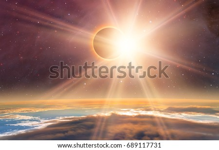 "Solar Eclipse ""Elements of this image furnished by NASA "" #689117731"