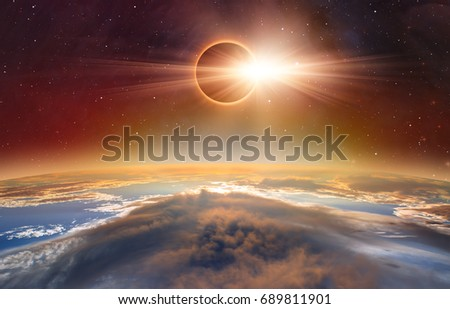 "Solar eclipse ""Elements of this image furnished by NASA "" #689811901"