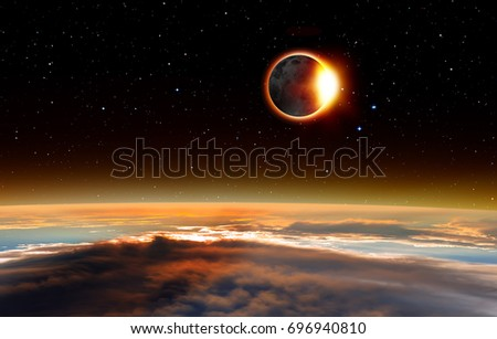 "Solar Eclipse ""Elements of this image furnished by NASA "" #696940810"