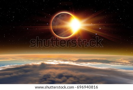 "Solar Eclipse ""Elements of this image furnished by NASA "" #696940816"