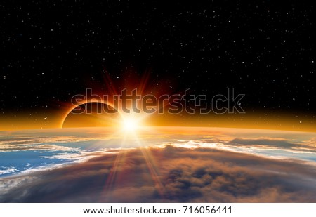 "Solar Eclipse ""Elements of this image furnished by NASA "" #716056441"