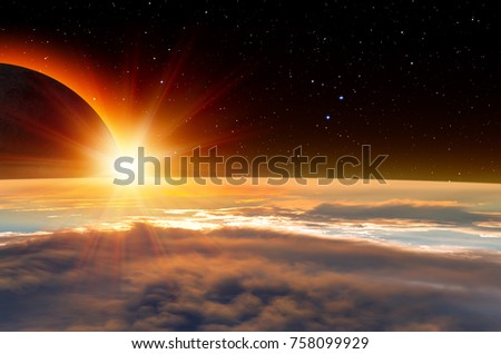 """Solar Eclipse """"Elements of this image furnished by NASA """" #758099929"""