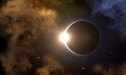 Solar eclipse, galaxy and nebula in deep outer space. Solar eclipse natural phenomenon when Moon passes between planet Earth and Sun. Non contains of NASA sources.