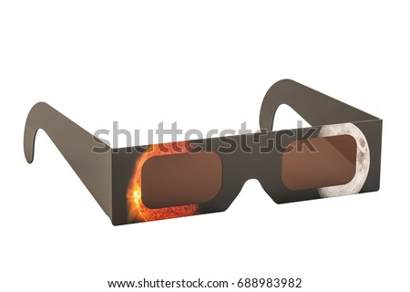 Solar Eclipse Glasses, 3D rendering isolated on white background, Elements of this image furnished by NASA