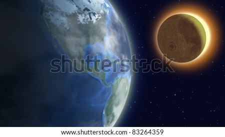 Solar eclipse with foggy earth, moon and sun over starry sky.