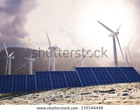 Solar Eco power and wind generators. Renewable clean energy concept.