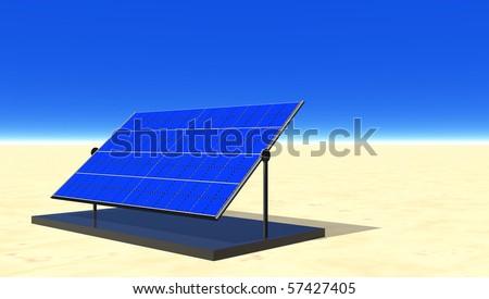 Solar electric panel in desert sun