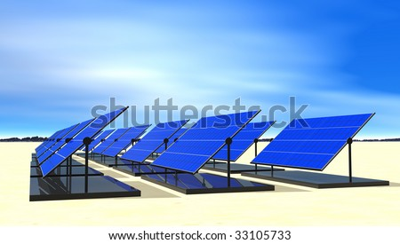 Solar electric panels in desert sun