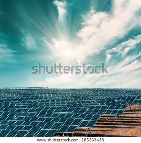 Solar electricity plant under blue sky