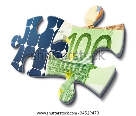 solar energy fits with money savings, representation made with puzzle cards - stock photo